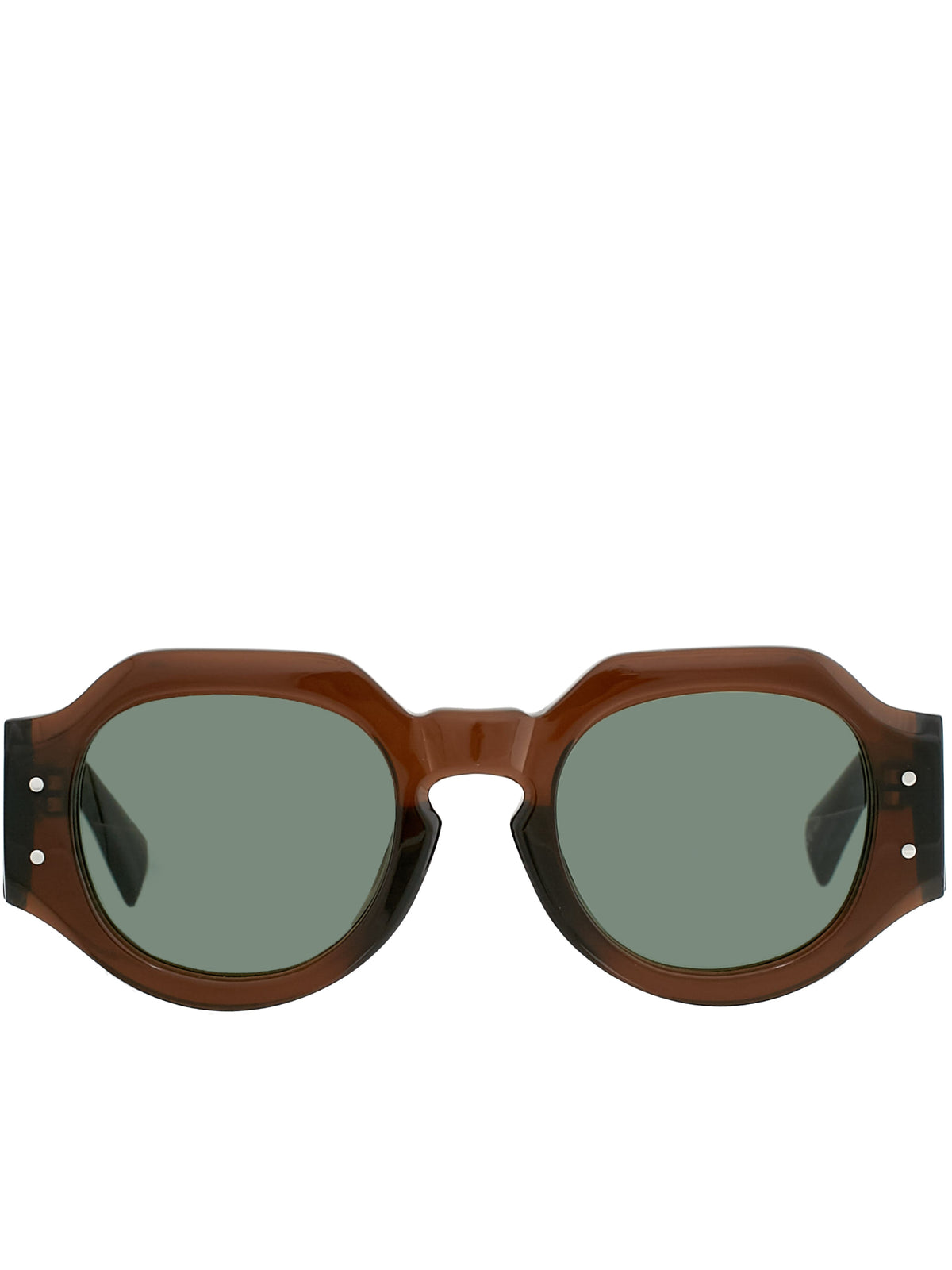 'Dries Van Noten 174 C4 Angular Sunglasses' (DVN174C4SUN-BROWN-MG-GREEN)