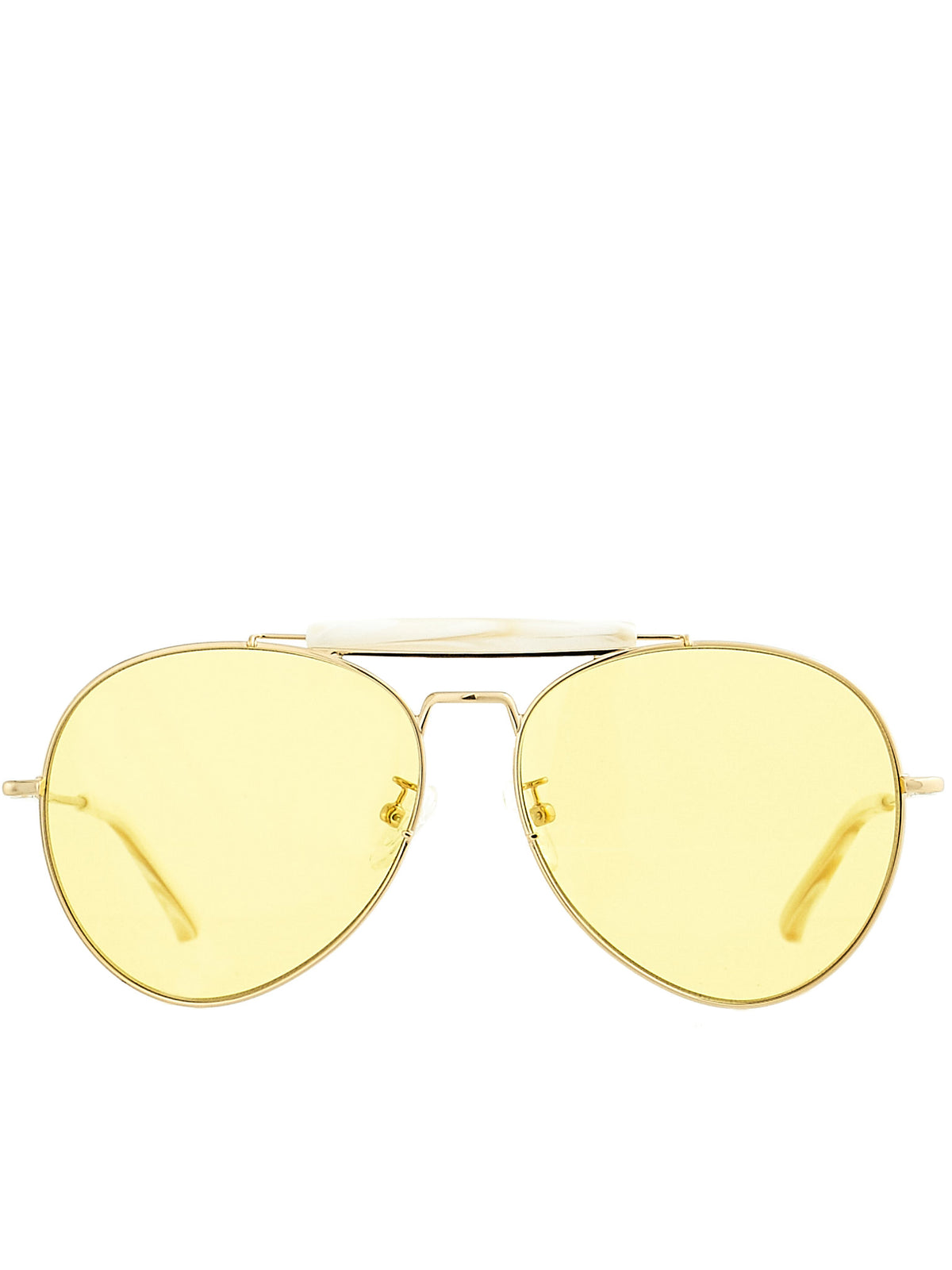 Aviator Sunglasses (DVN187C2SUN-YG-HORN-YELLOW)
