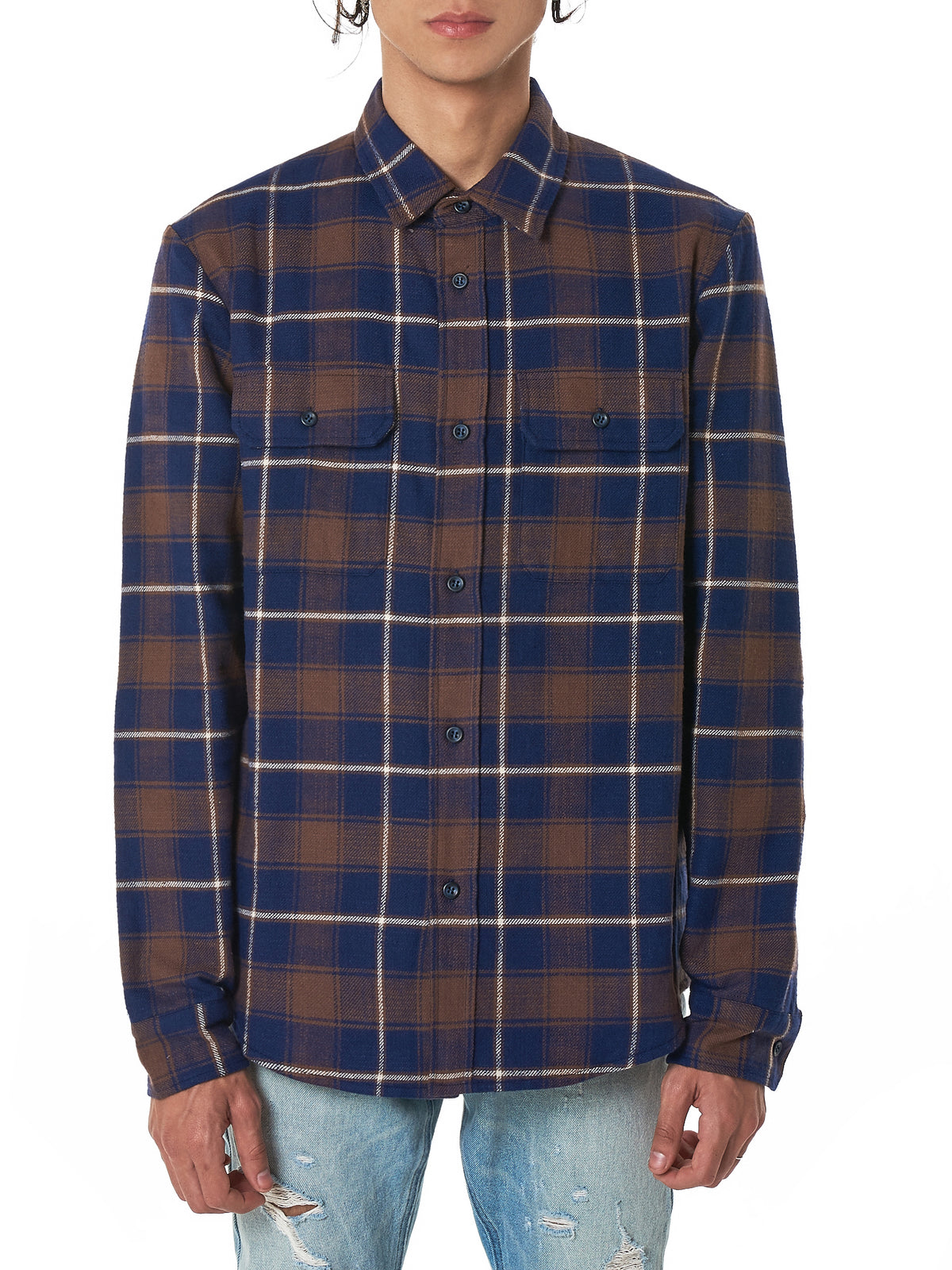 Plaid Flannel Shirt (E029G57215A-NAVY-BROWN)