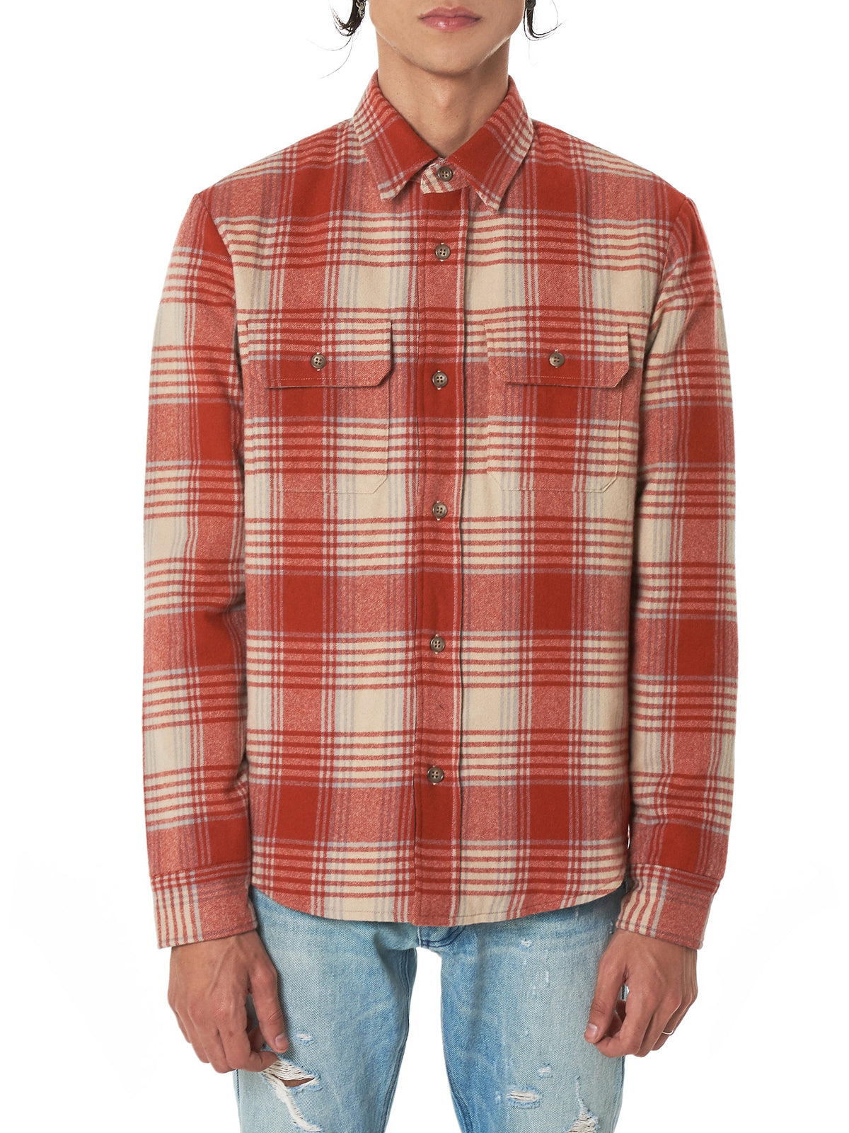 Plaid Flannel Shirt (E029G5621A4A-RED-WHITE)