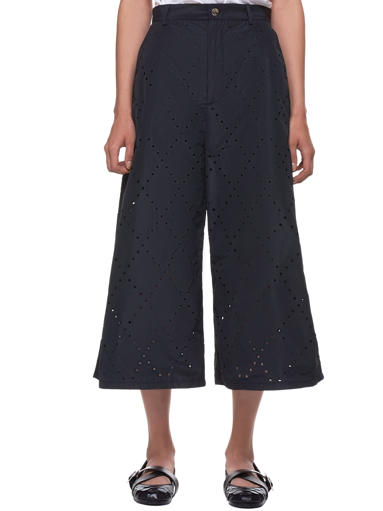 Laser-Perforated Trousers (E1-09F-15003-00-C0042-BLACK)