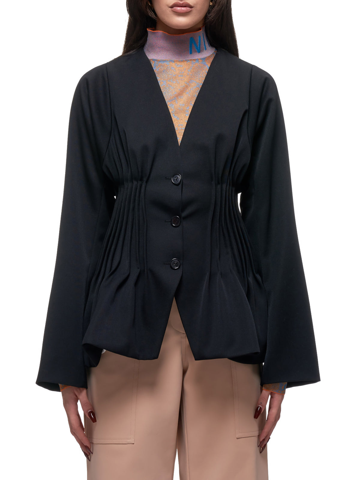Pleated-Waist Jacket (ECVE016WV0233-U9000-BLACK)