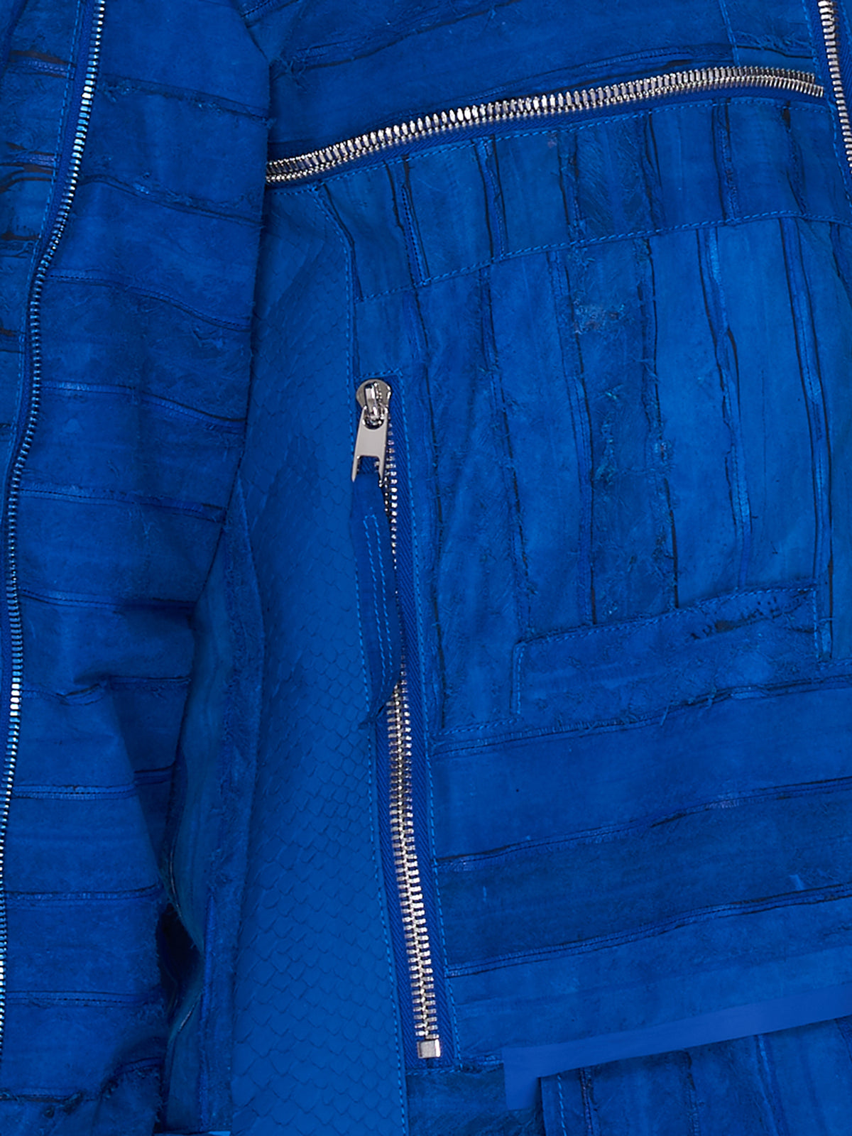 Electronic Blue Patchwork Leather Jacket (EELS-R-11-BLUE)
