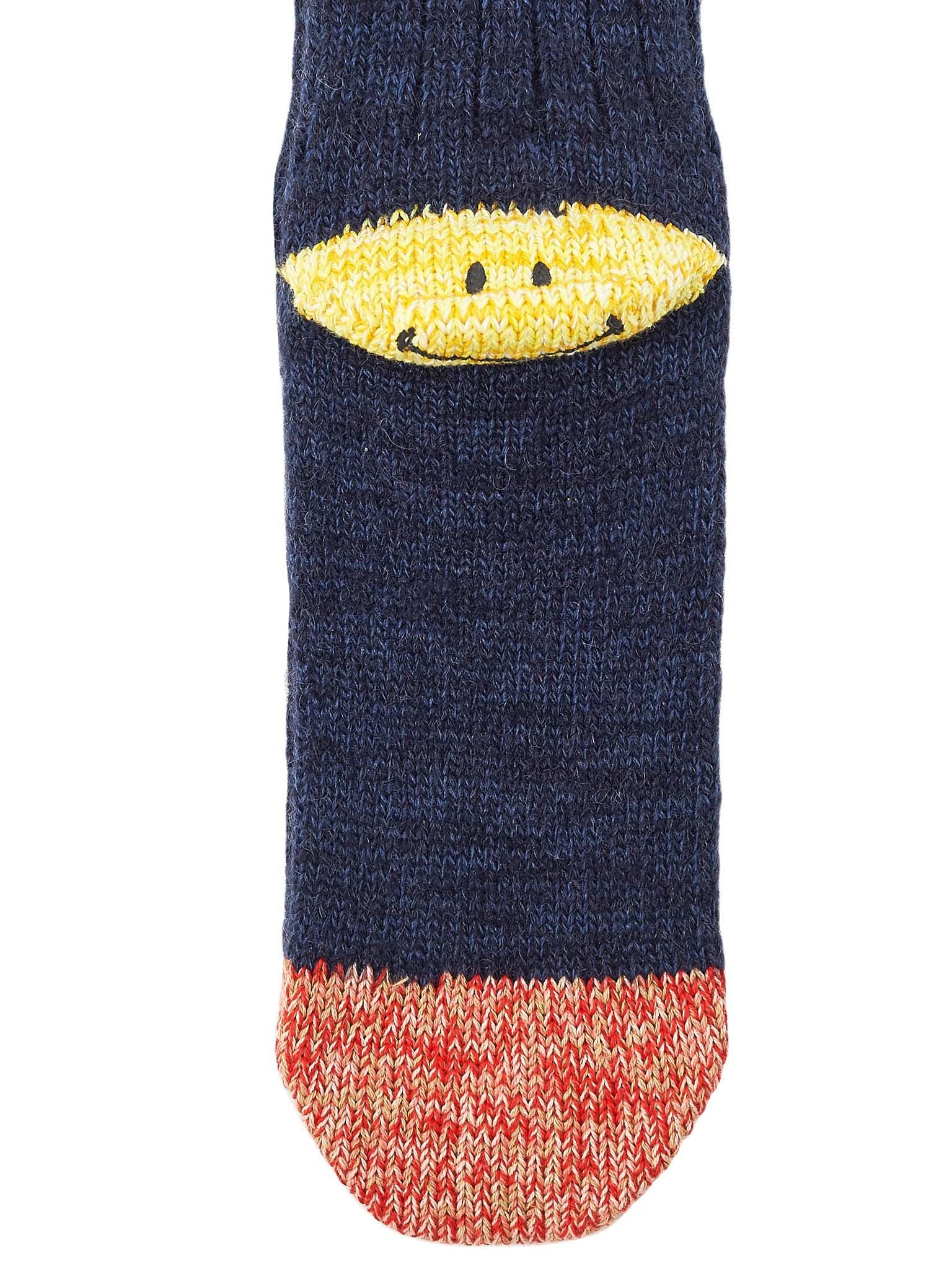 Smile-Heel Stripe Socks (EK-563-NAVY)
