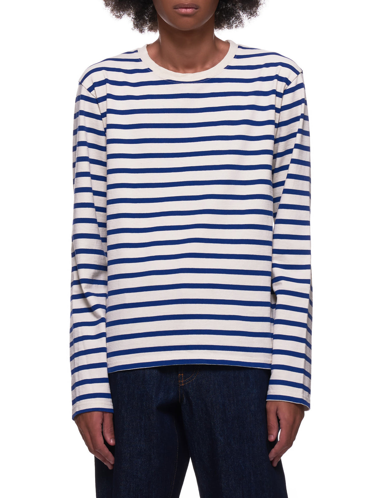 Striped Smiley Face Long Sleeve Shirt (EK-904-ECRU-BLUE)