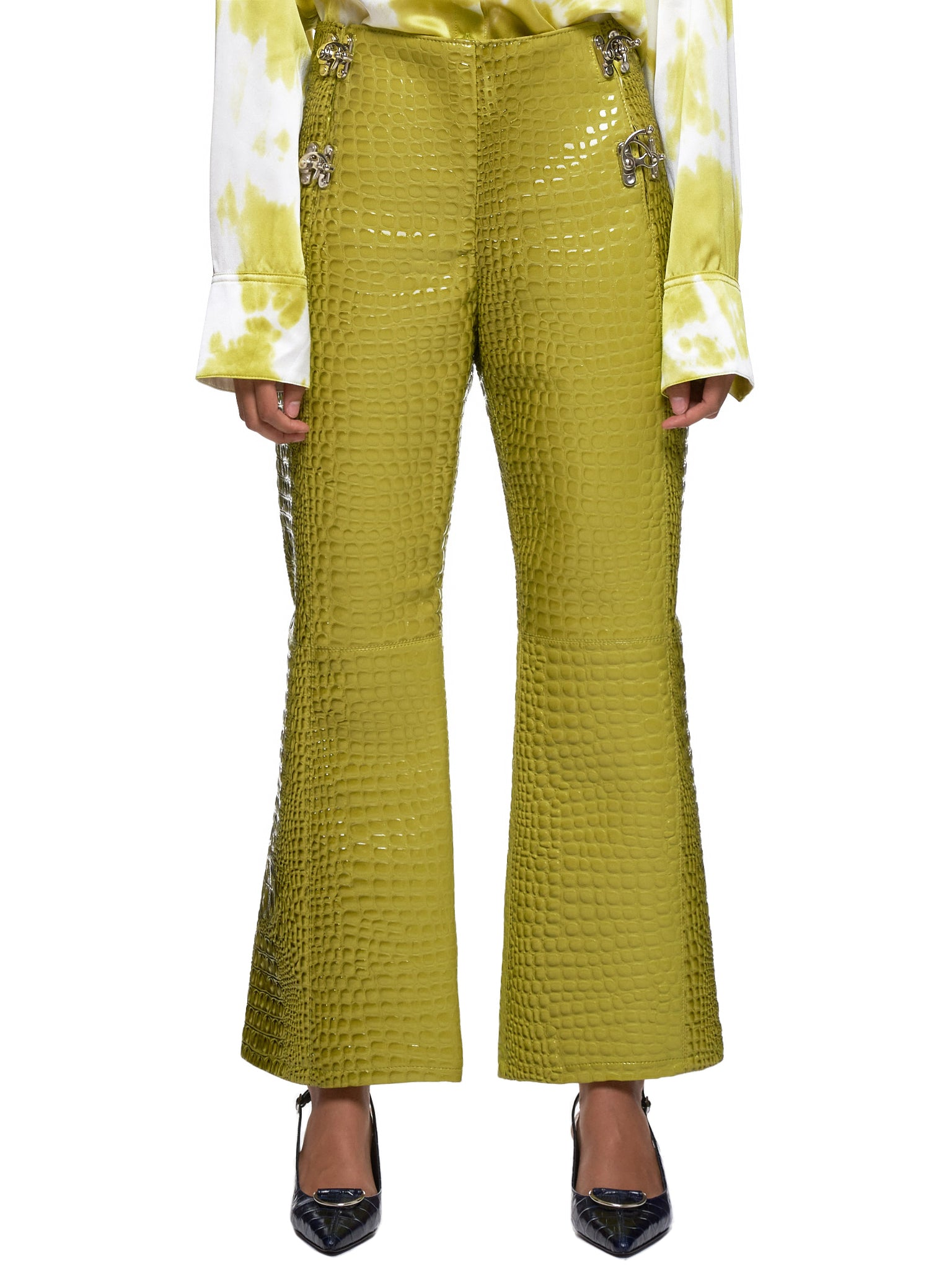 Leo Green Trousers - Hlorenzo Front