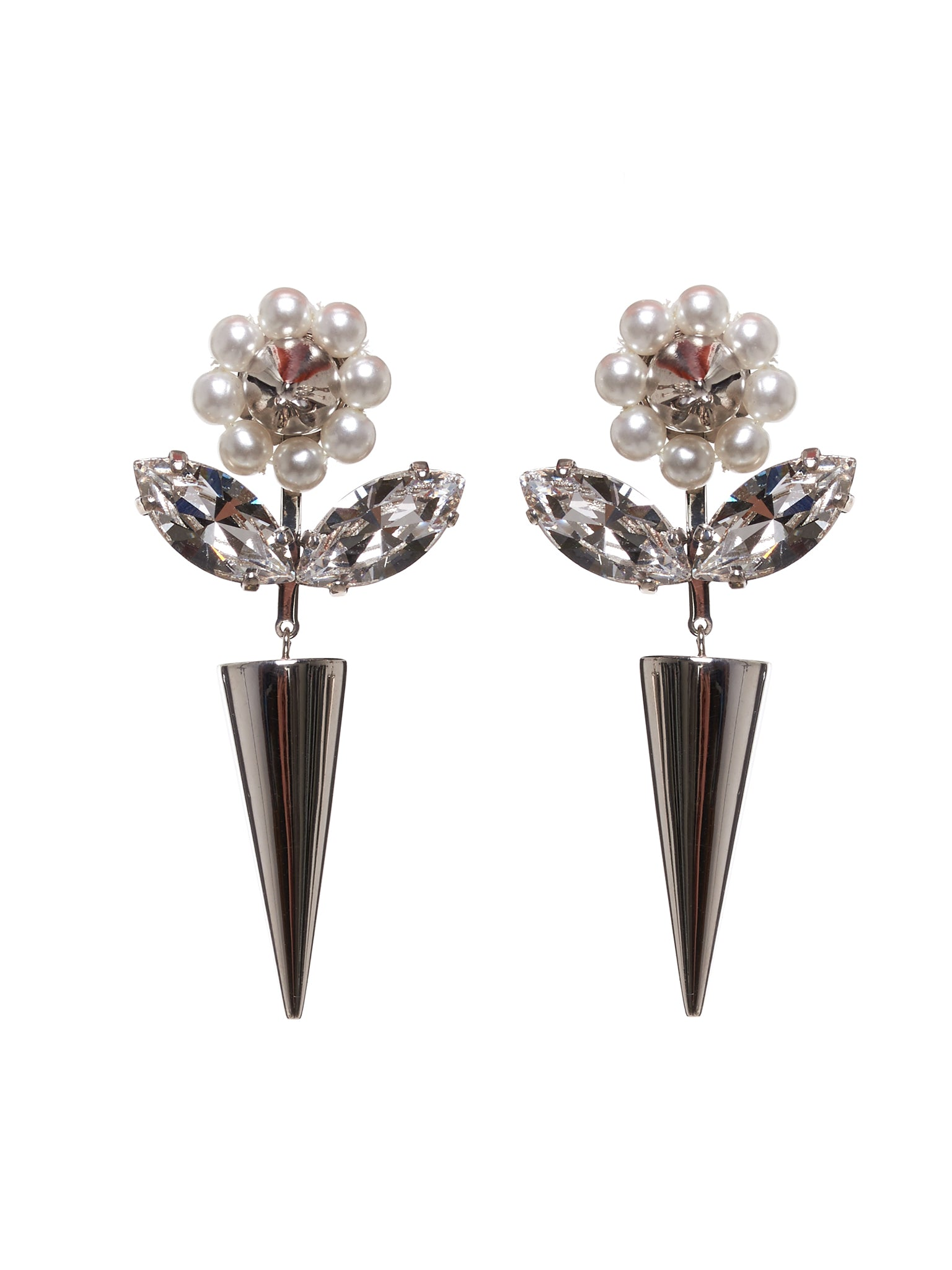 Flower and Spike Earrings (ERG189-0906-PEARL-CLEAR)