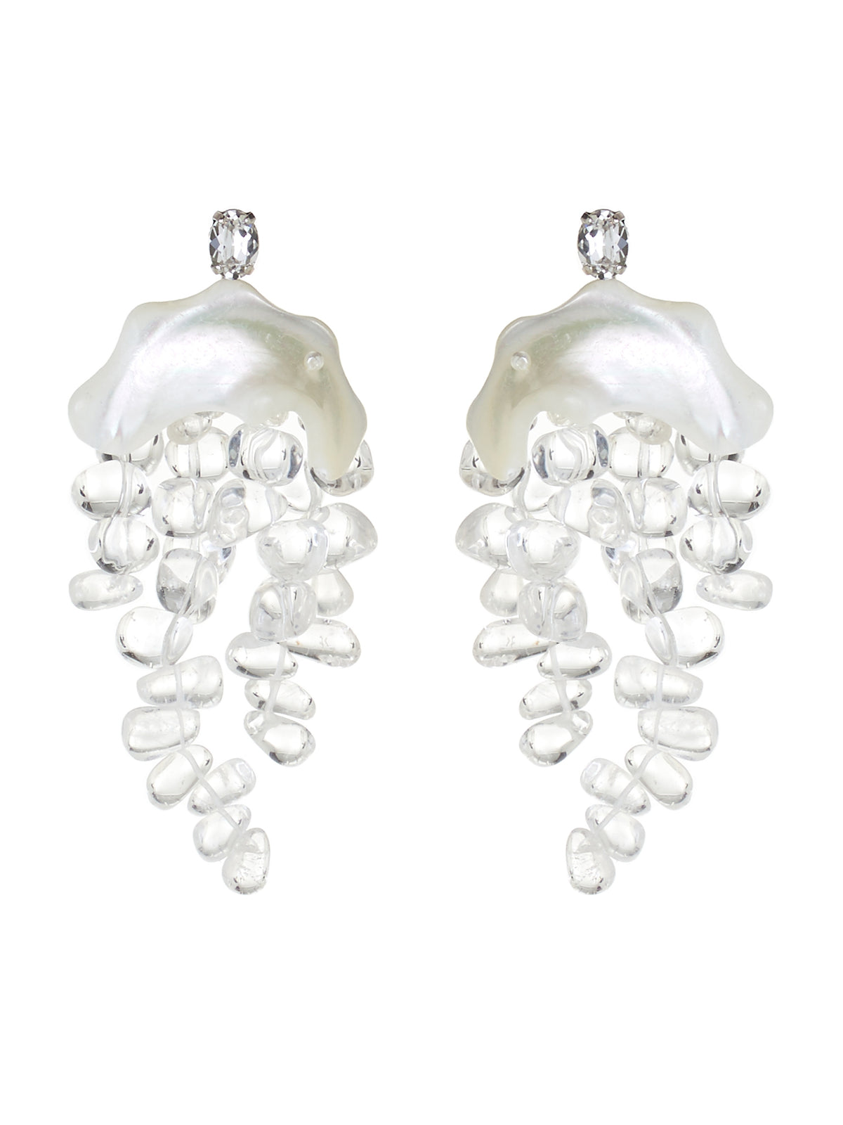 Mother Of Pearl Chandelier Earrings (ERG218-0908-PEARL-CLEAR)