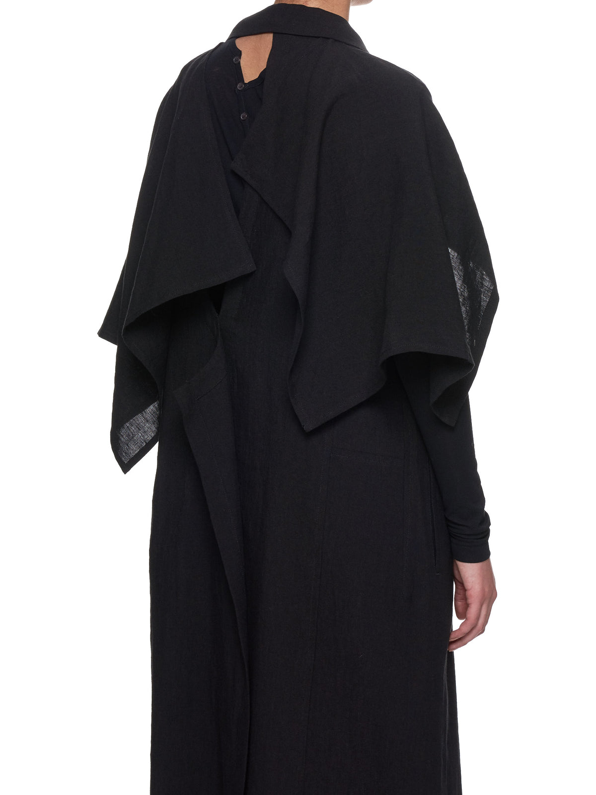 Short-Sleeve Duster Coat (FH-C09-300-BLACK)
