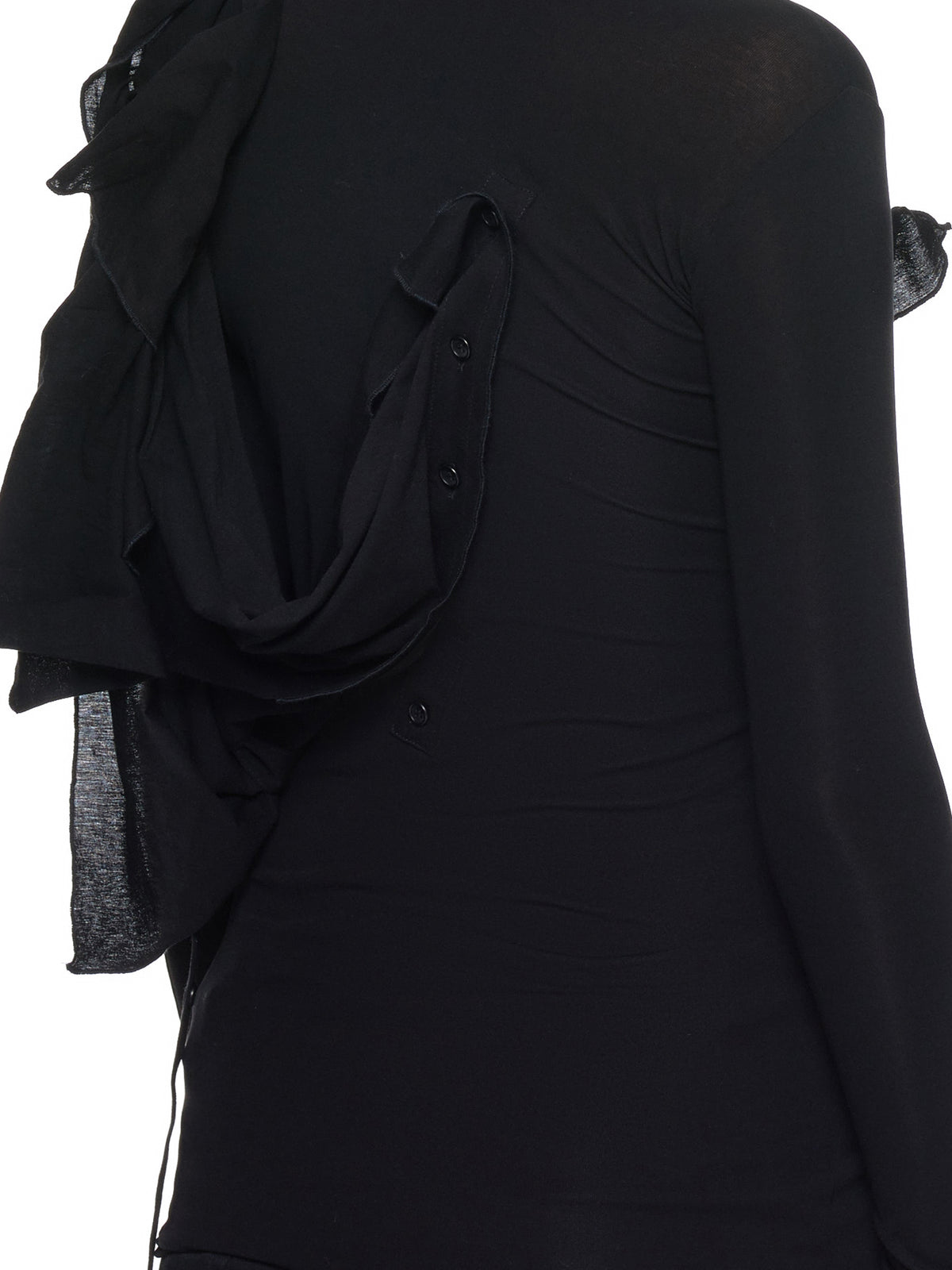 Asymmetrical Drape Top (FH-T12-077-BLACK)
