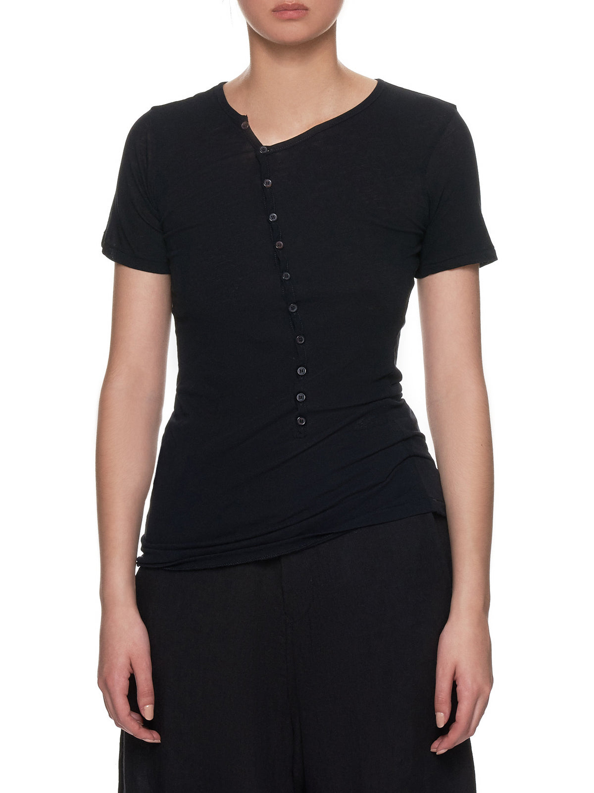 Asymmetrical Button-Up T-Shirt (FH-T30-070-BLACK)