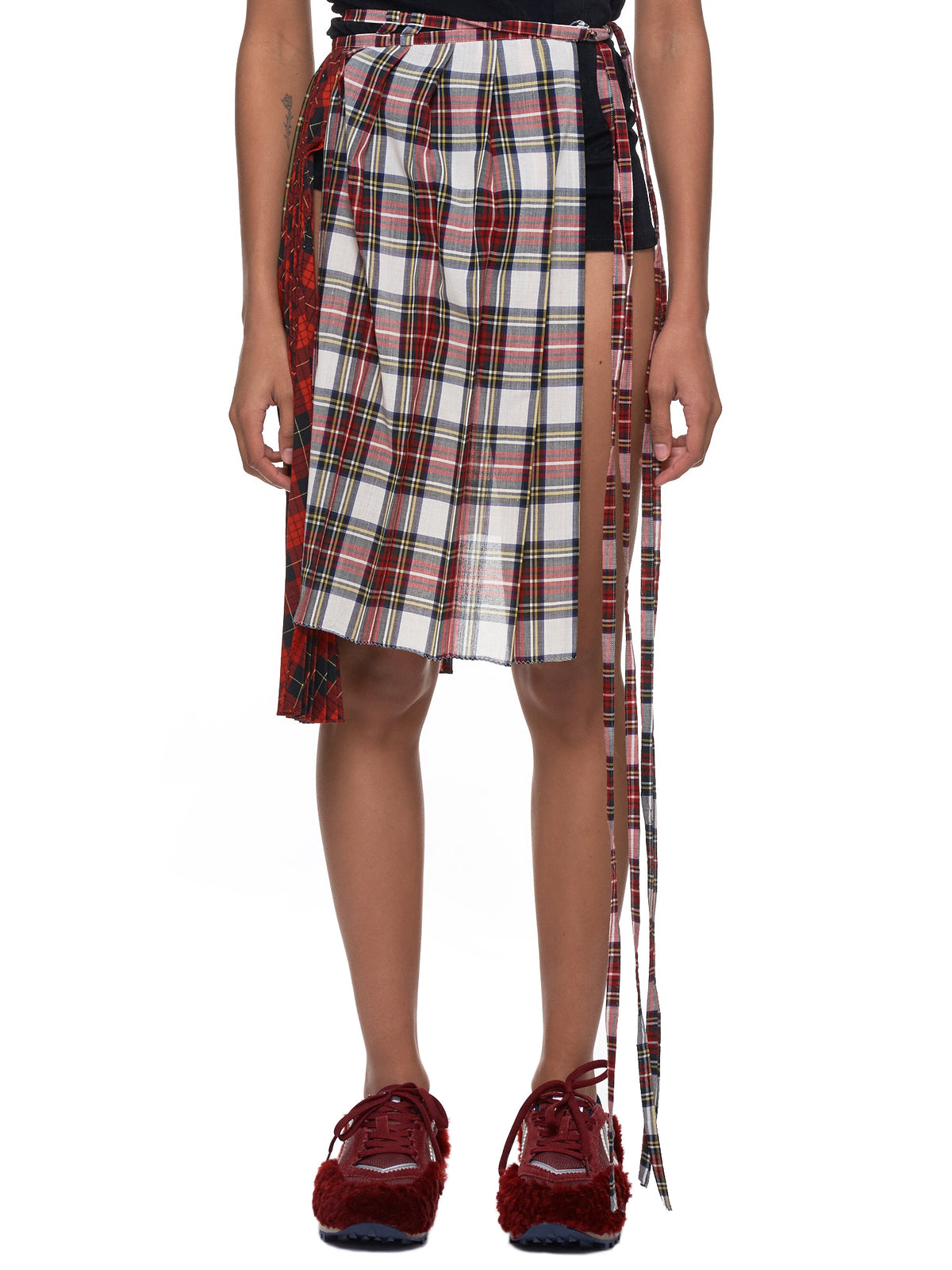 Deconstructed Plaid Skirt (FNTACW01-WHITE-RED)