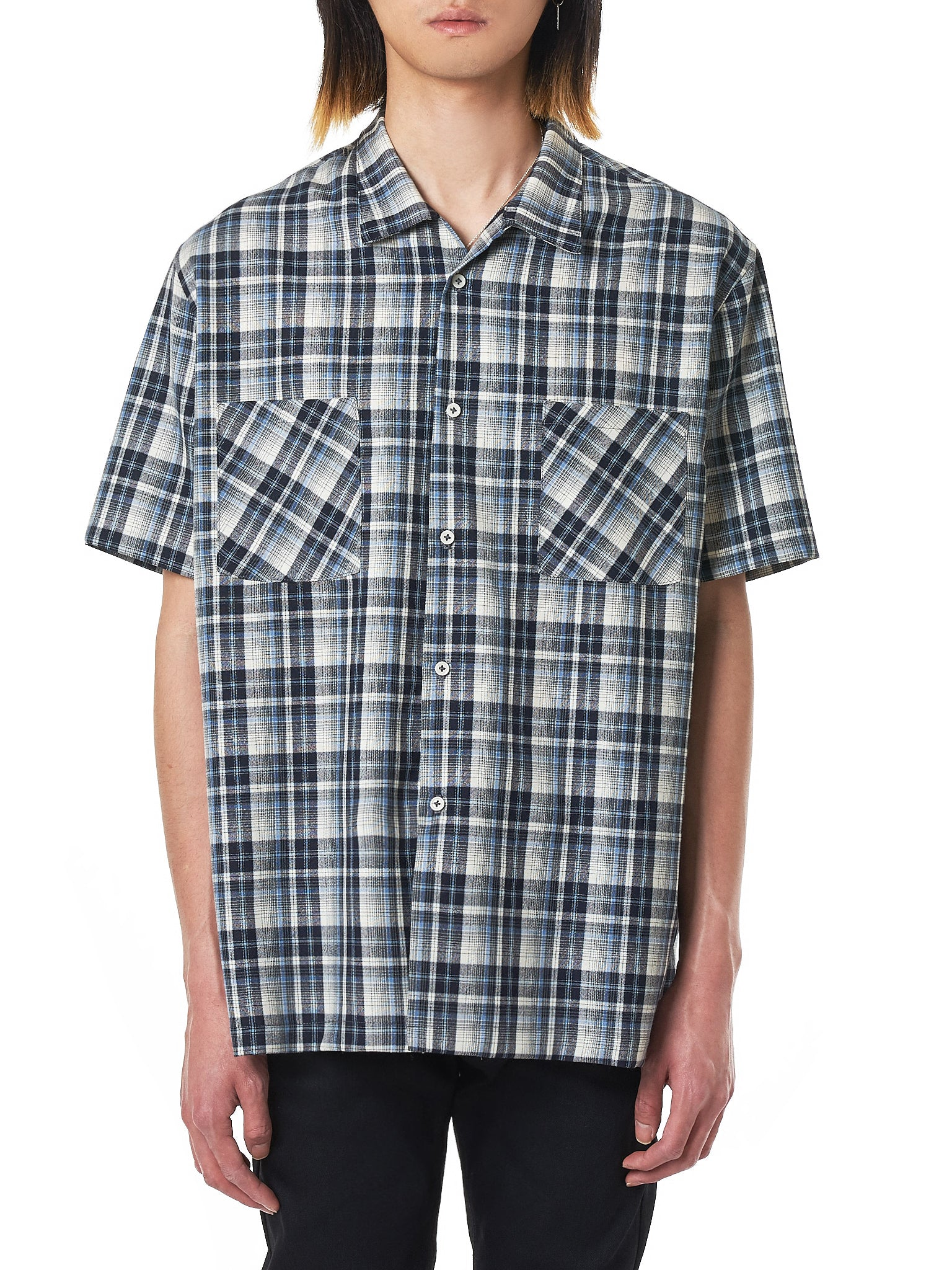 Short-Sleeve Plaid Shirt (FS0001-BLACK-WHITE-BLUE)