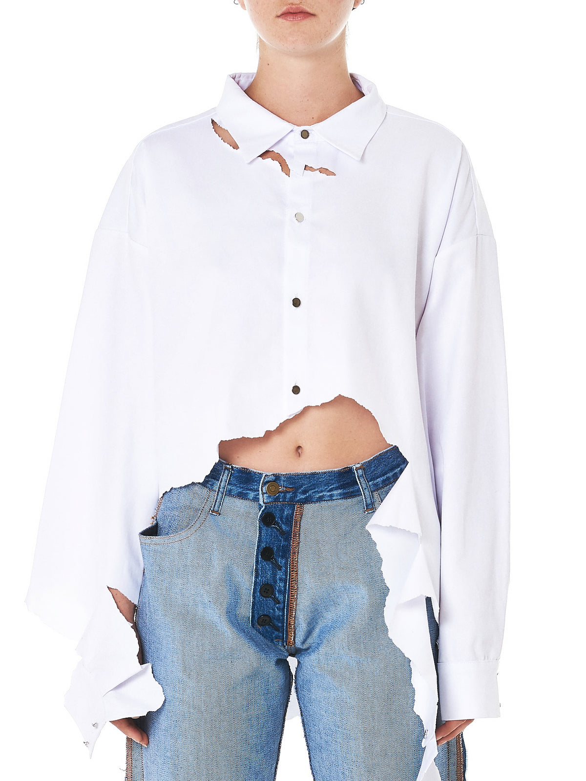 Destroyed Oversized Shirt (FS0036-WHITE)