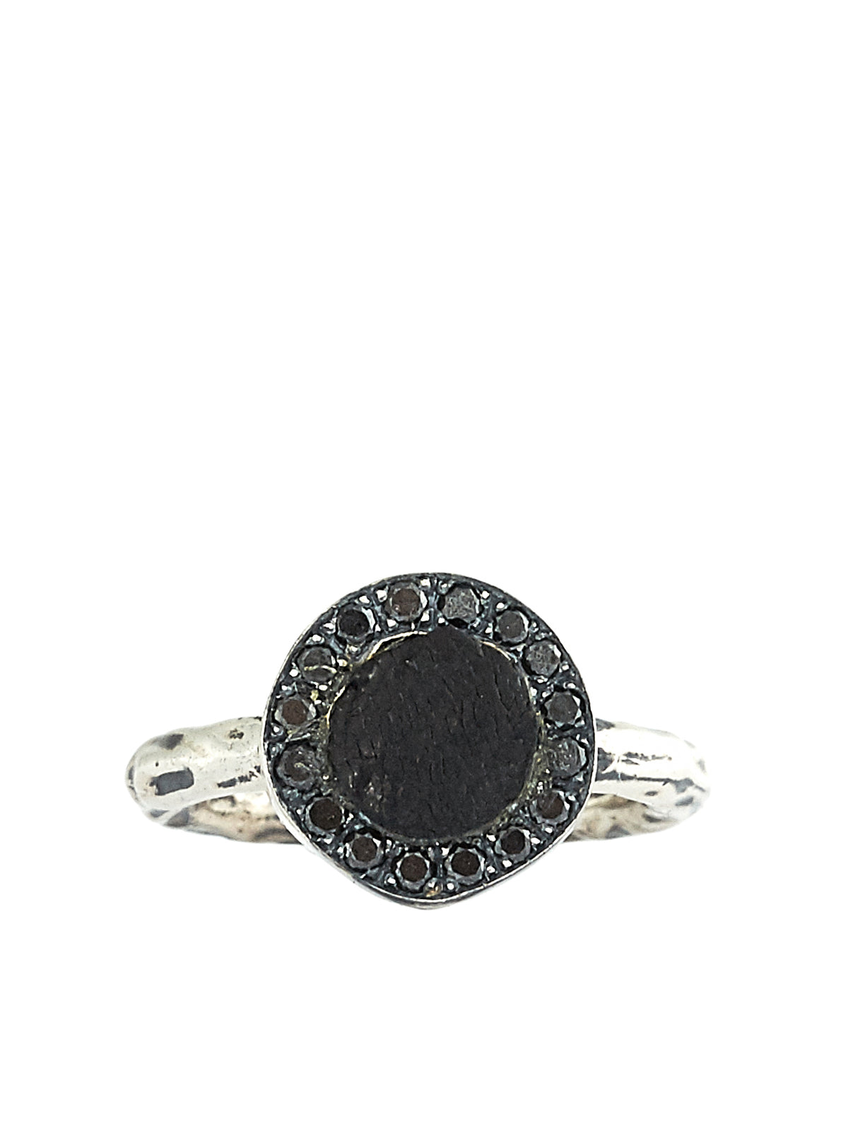 Tarnished Silver Ring (G-AN03DN-SILVER-BLK-DIAMONDS)