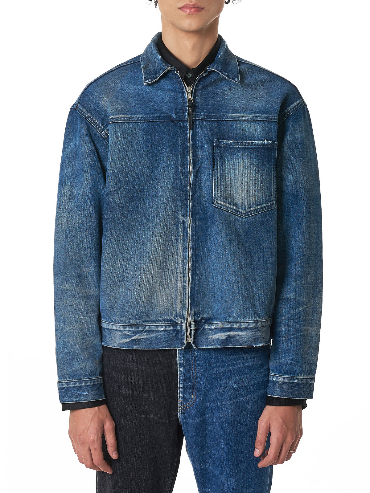 Distressed Zip Denim Jacket (G174E58101B-INDIGO)