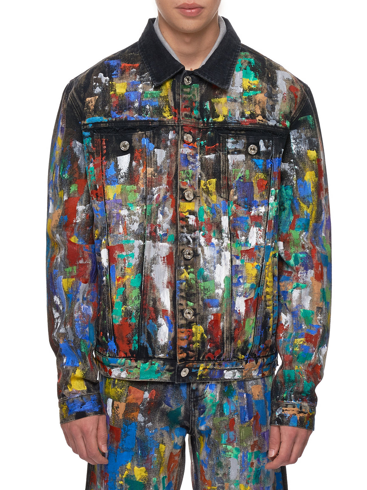 Paint-Splattered Jacket (GEO-CUSTOM-DENIM-BLACK-DENIM)