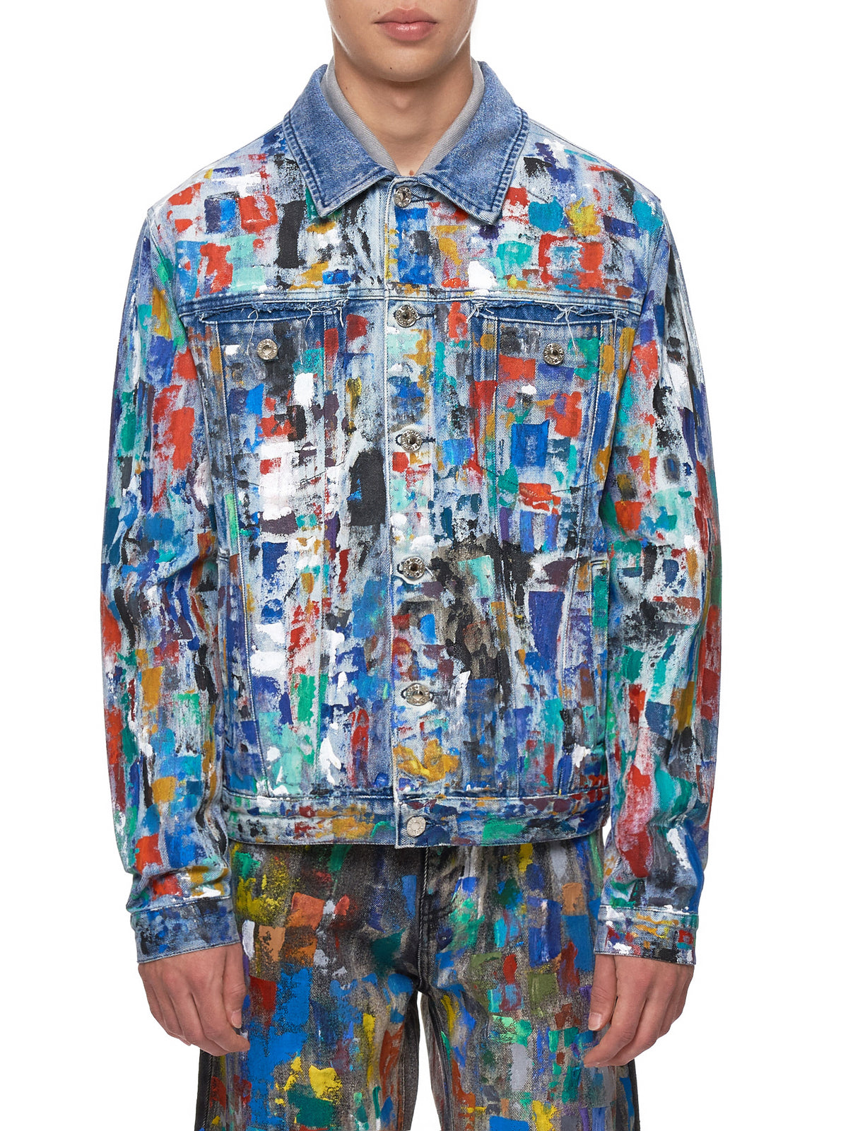 Paint-Splattered Jacket (GEO-CUSTOM-DENIM-STONEWASH)