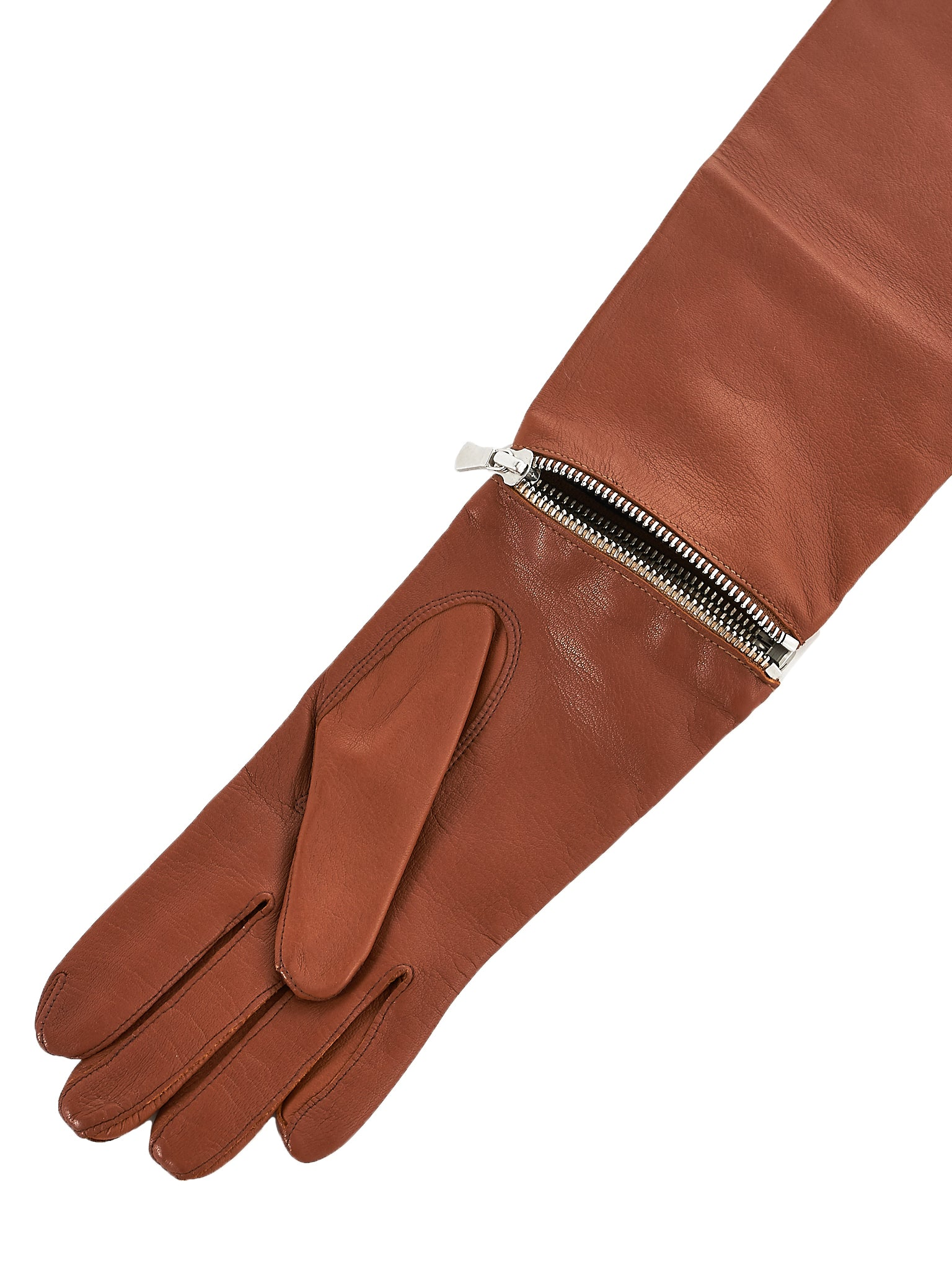 Deconstructed Zip Evening Gloves (GL600-GINA-CARAMEL)