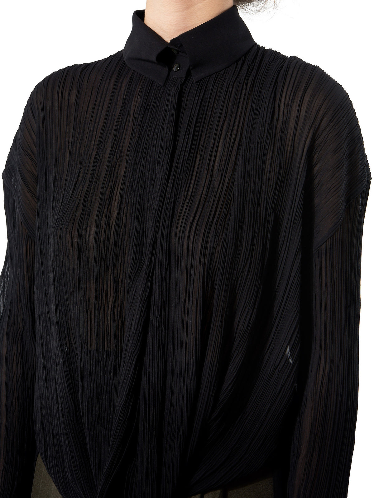 Sheer Pleated Blouse (GLS-DR69-BLACK) - H. Lorenzo
