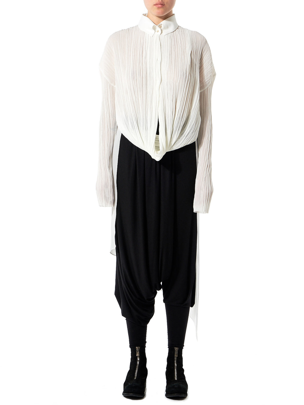 Sheer Pleated Blouse (GLS-DR69-IVORY) - H. Lorenzo