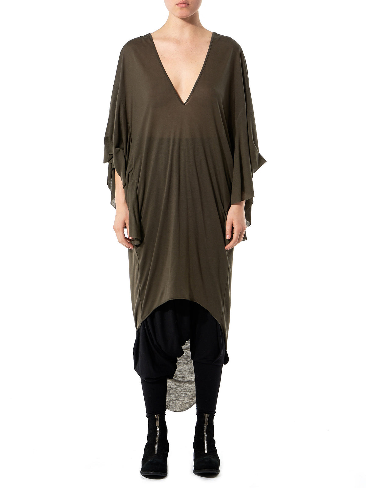 Draped 'Jersey' Dress (GLS-JD03-KHAKI) - H. Lorenzo