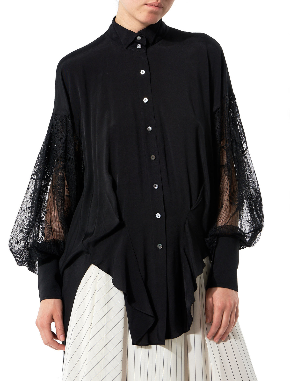 Shirt With Lace Embroidered Sleeves (GLS-SD21-BLACK) - H. Lorenzo
