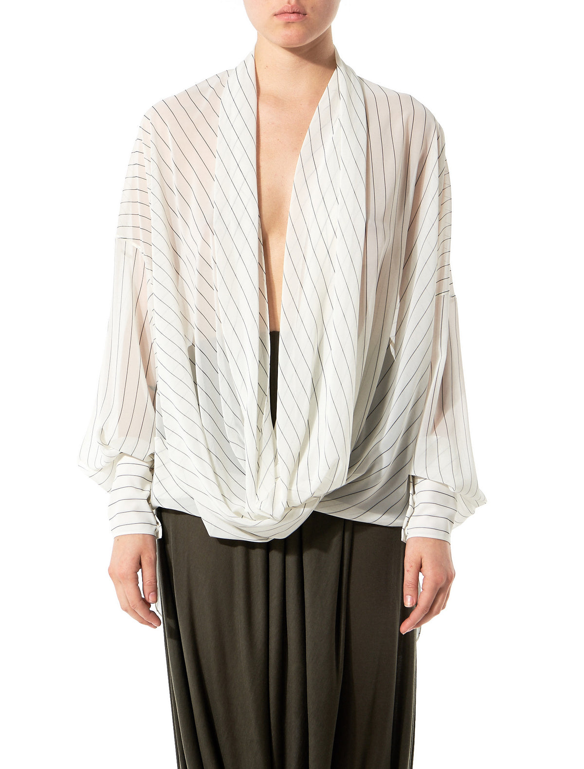 Draped Collar Top (GLS-SD51-IVORY-BLACK) - H. Lorenzo