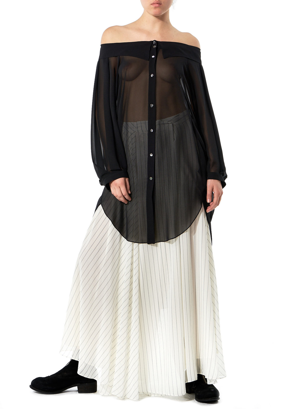 Off-Shoulder Buttoned Blouse (GLS-SD52-BLACK) - H. Lorenzo