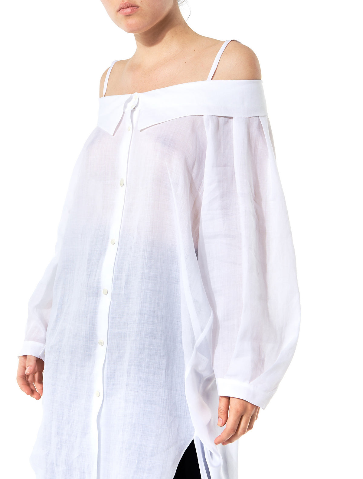 Draped Linen Dress (GLS-SD52-WHITE) - H. Lorenzo