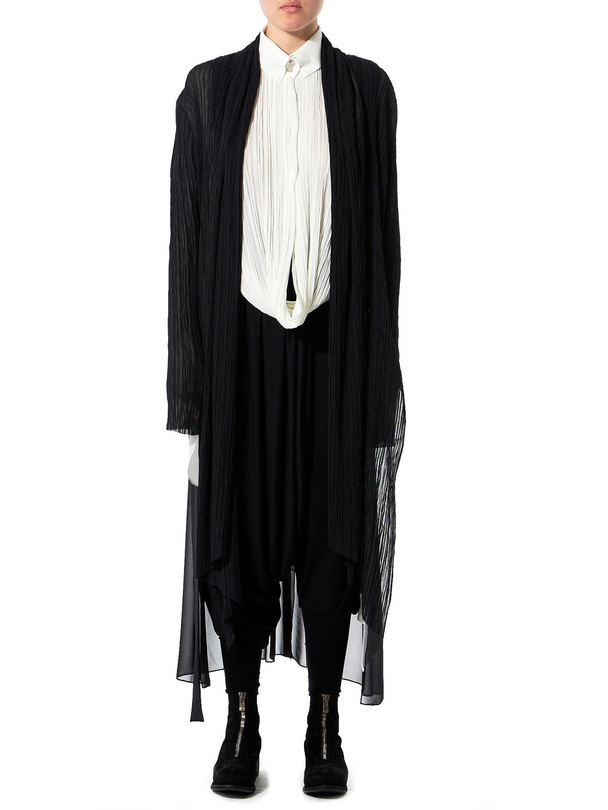 Draped Shawl Cardigan (GLS-SL70-BLACK) - H. Lorenzo