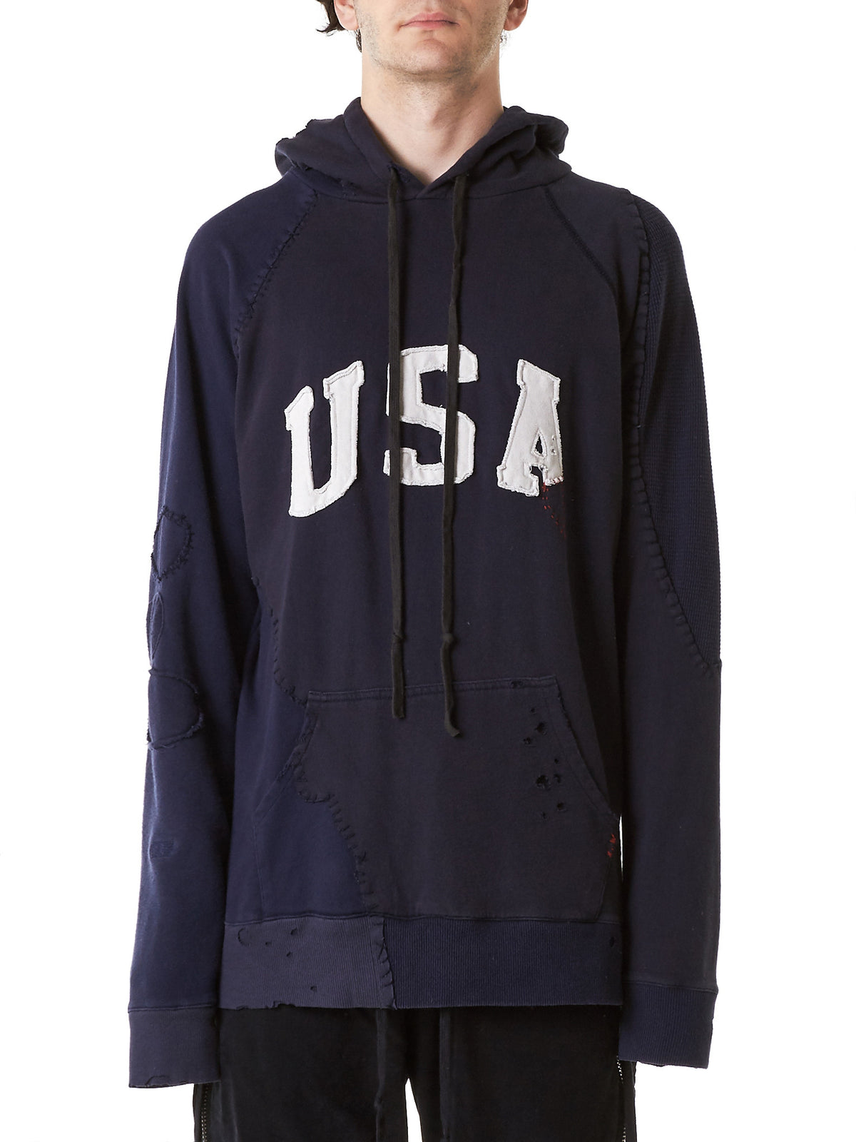 Destroyed 'USA' Hoodie (GLSS17-M050-NAVY) - H. Lorenzo