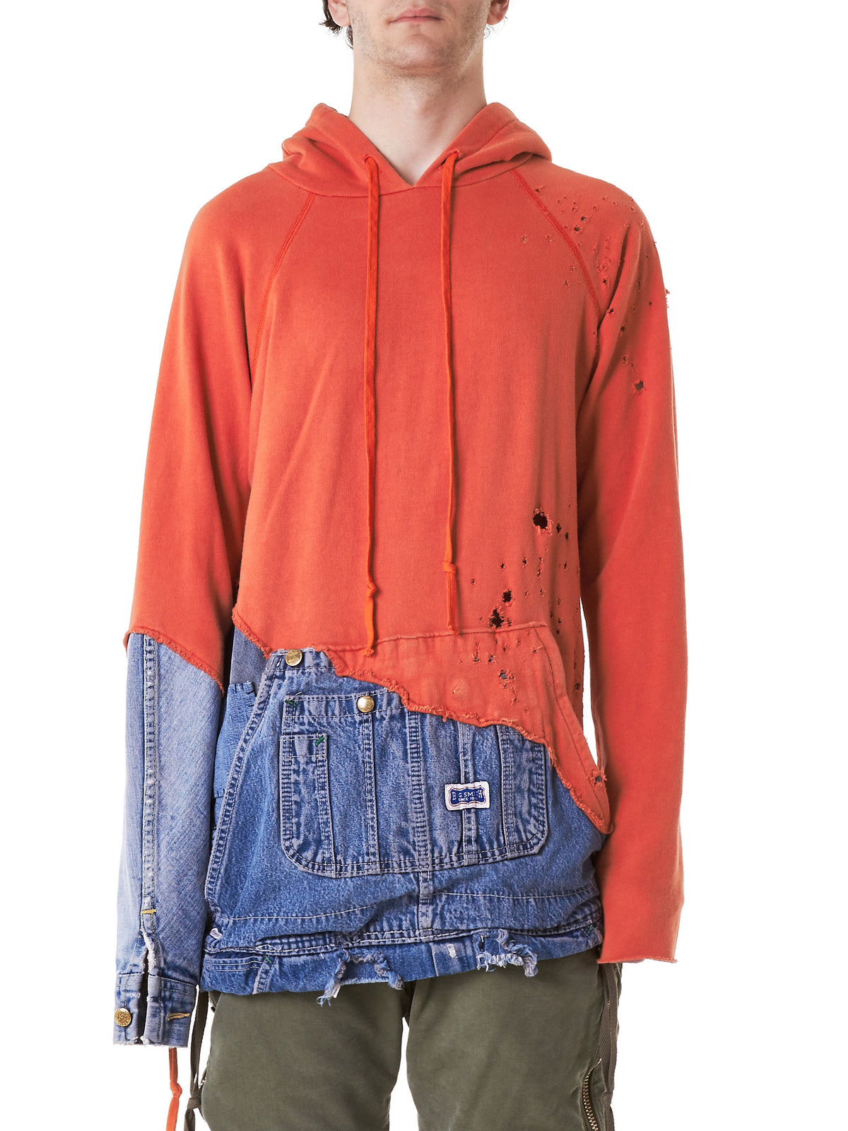Reconstructed Hooded Sweater (GLSS17-M052-ORANGE-DENIMBLUE) - H. Lorenzo