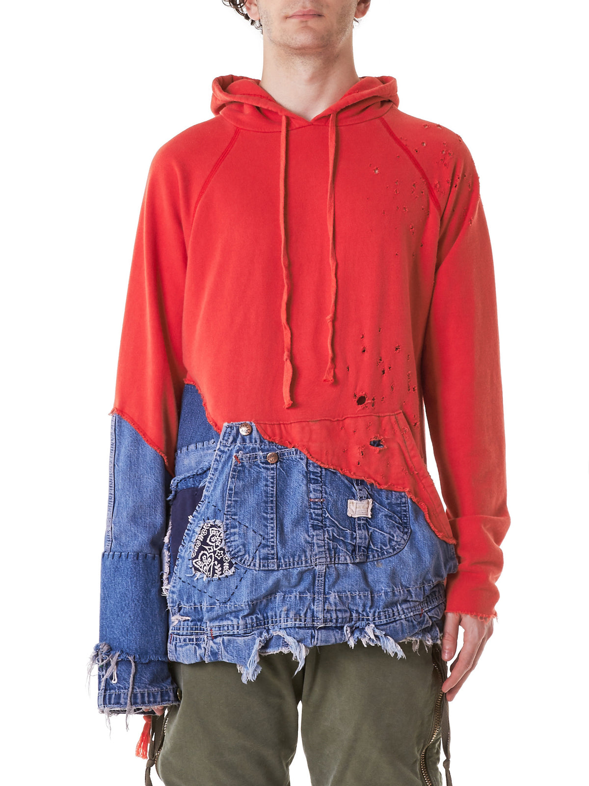 Reconstructed Hooded Sweater (GLSS17-M053-RED-DENIMBLUE) - H. Lorenzo