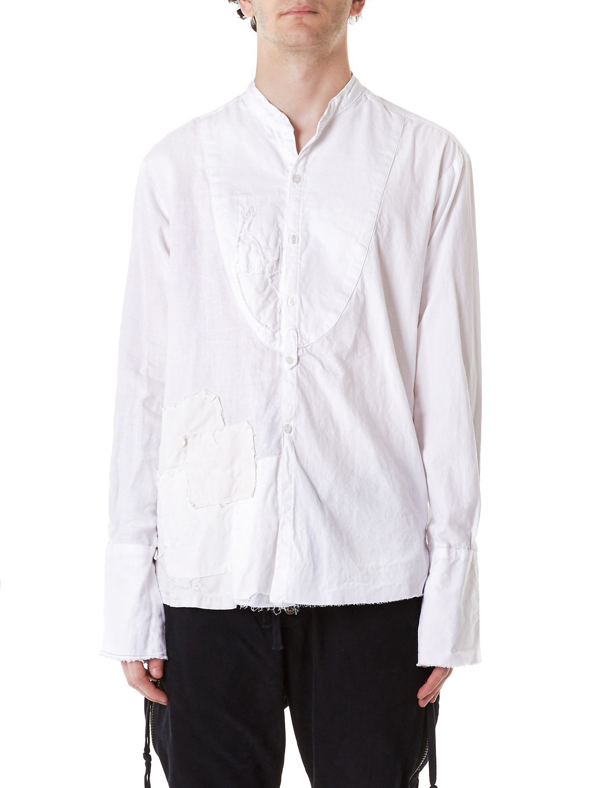 Destroyed Linen Button-Down (GLSS17-M124W-WHITE) - H. Lorenzo