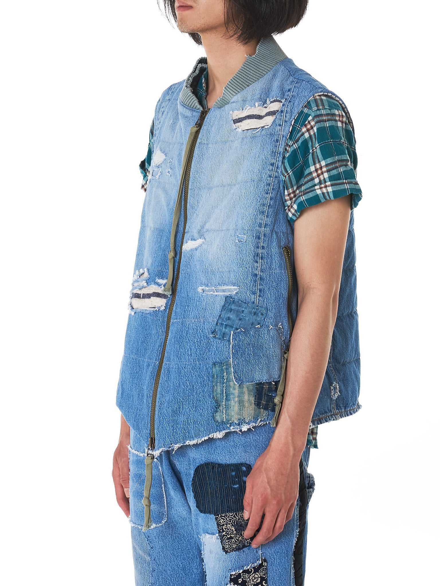 Greg Lauren Denim Vest - Hlorenzo Side