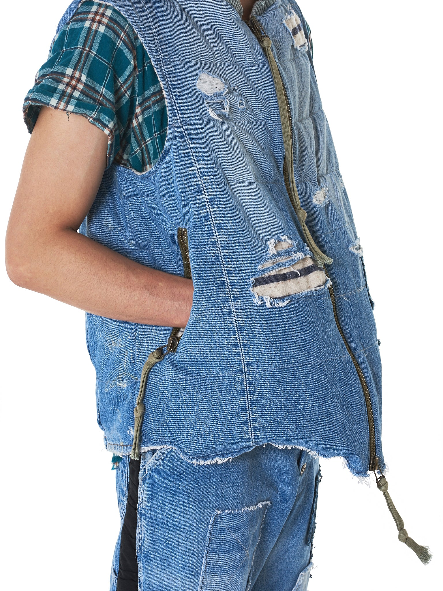Greg Lauren Denim Vest - Hlorenzo Detail 1