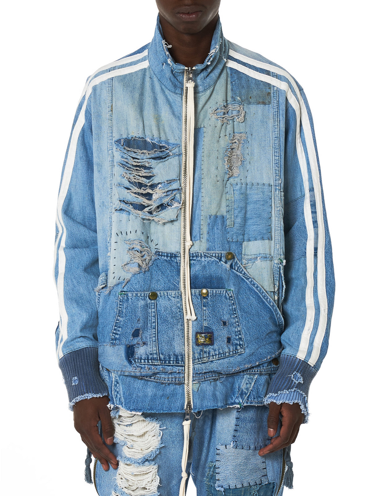 Greg Lauren Denim Track Jacket - Hlorenzo Front