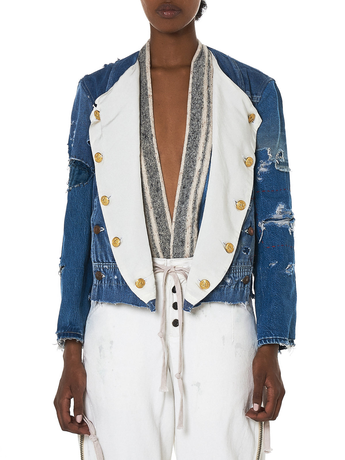 Greg Lauren Denim Jacket - Hlorenzo Front