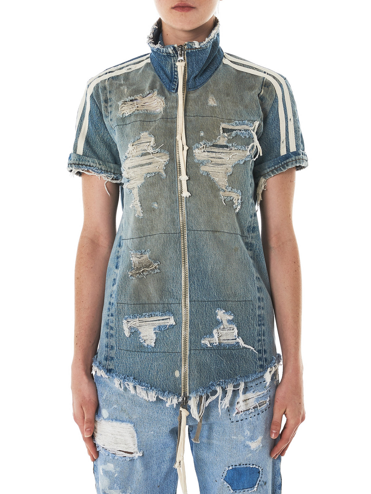 Greg Lauren Denim Track Shirt - Hlorenzo Front