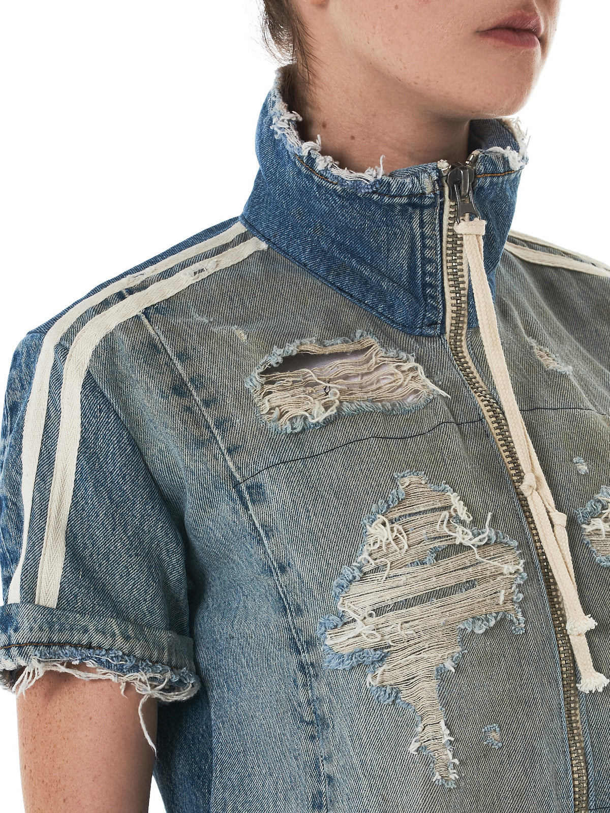Greg Lauren Denim Track Shirt - Hlorenzo Detail 2