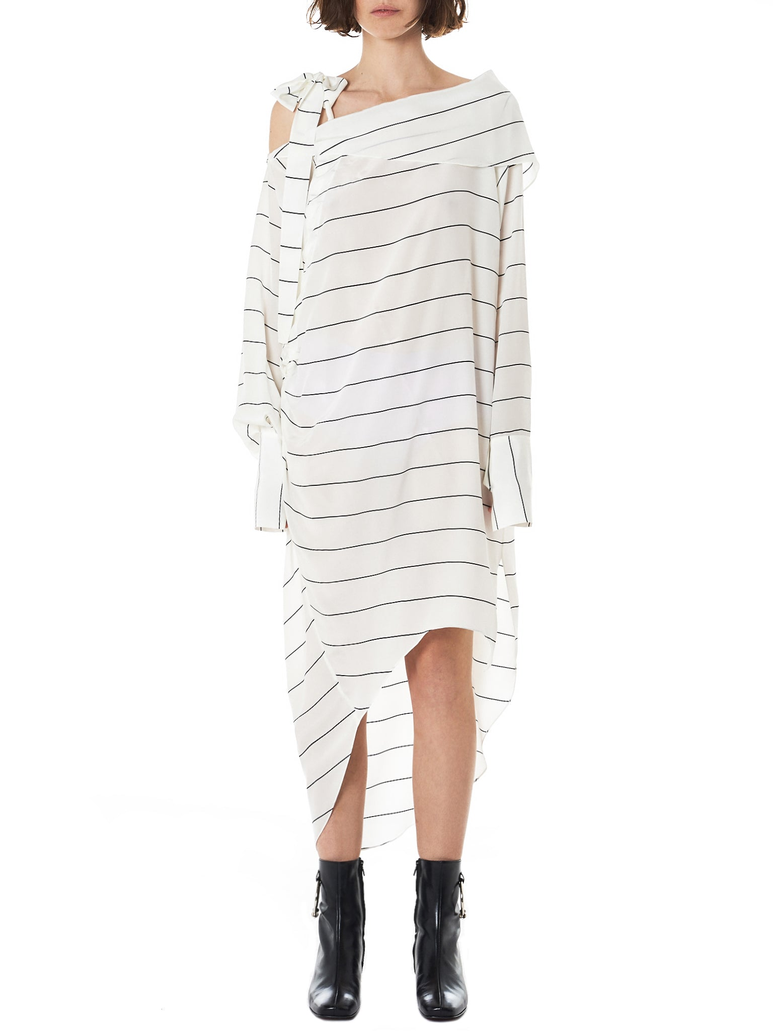 Striped Asymmetric Dress (GNS-DR124-WHITE)