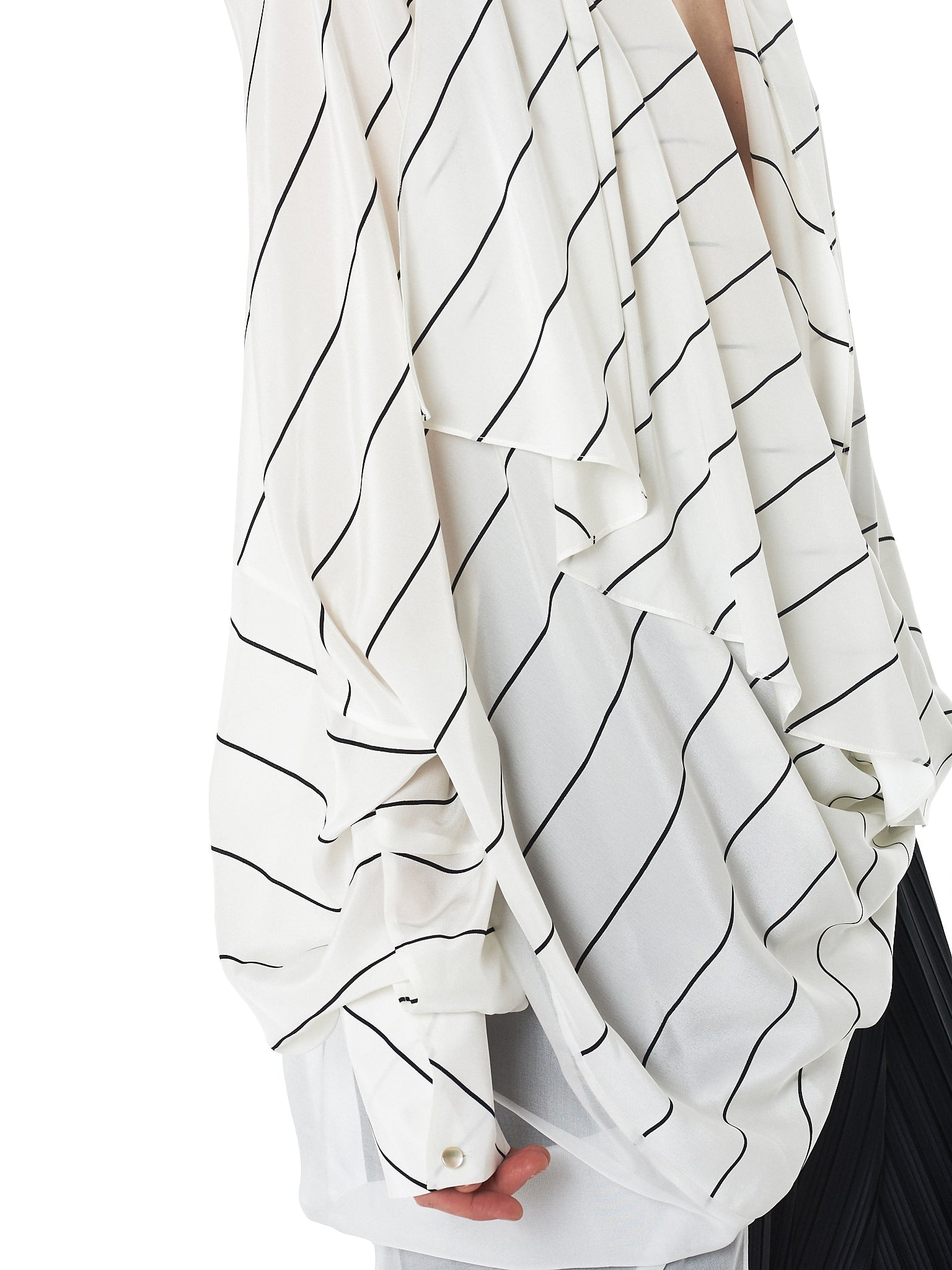 Striped Draped Dress (GNS-DR125-WHITE)