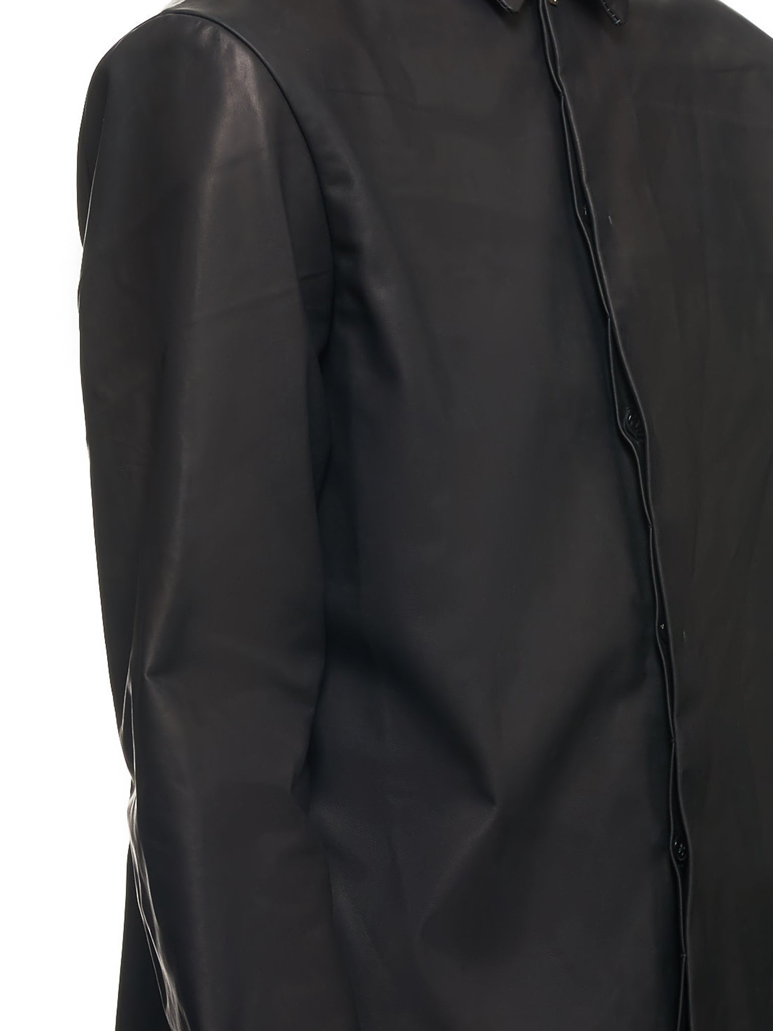 Leather Button Down (H102-AC1-BLACK-BLACK)