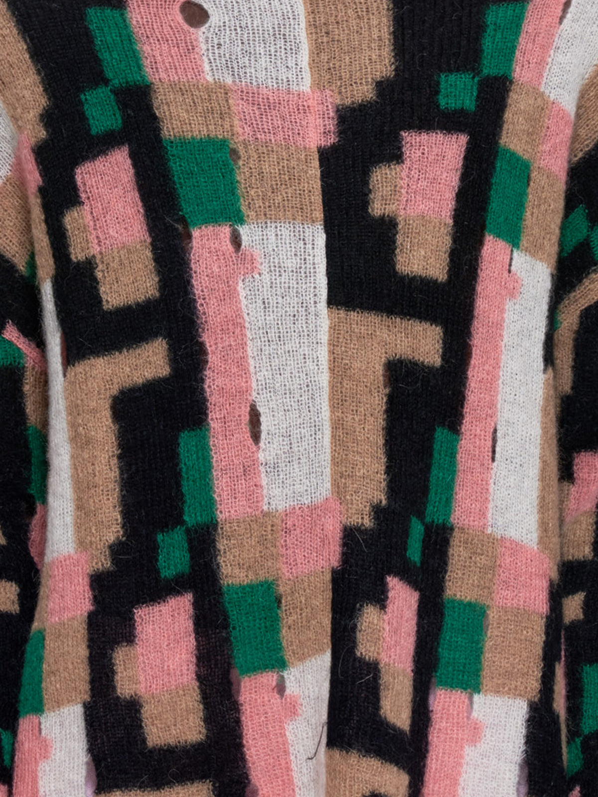 Graphic Mohair Intar Sweater (H526333X57-PINK-GREEN-BEIGE)