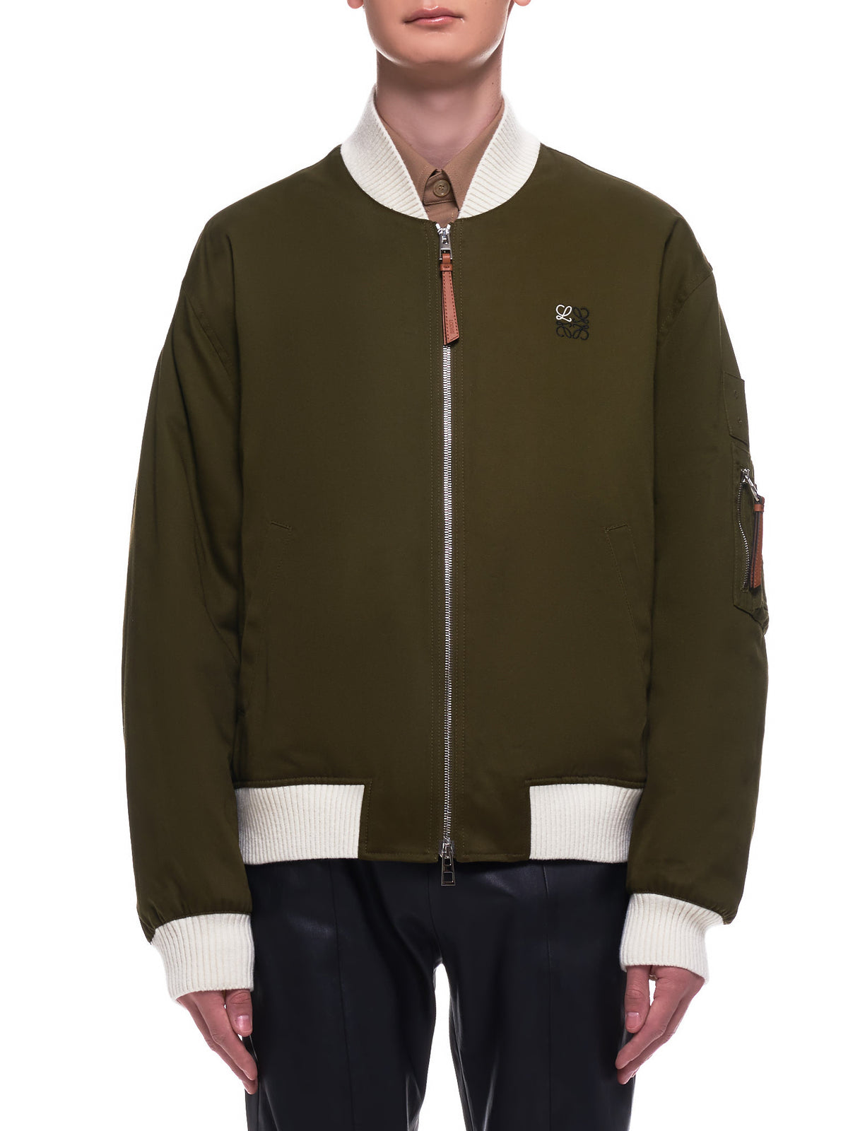 Canvas Bomber Jacket (H526338W01-MILITARY-GREEN)