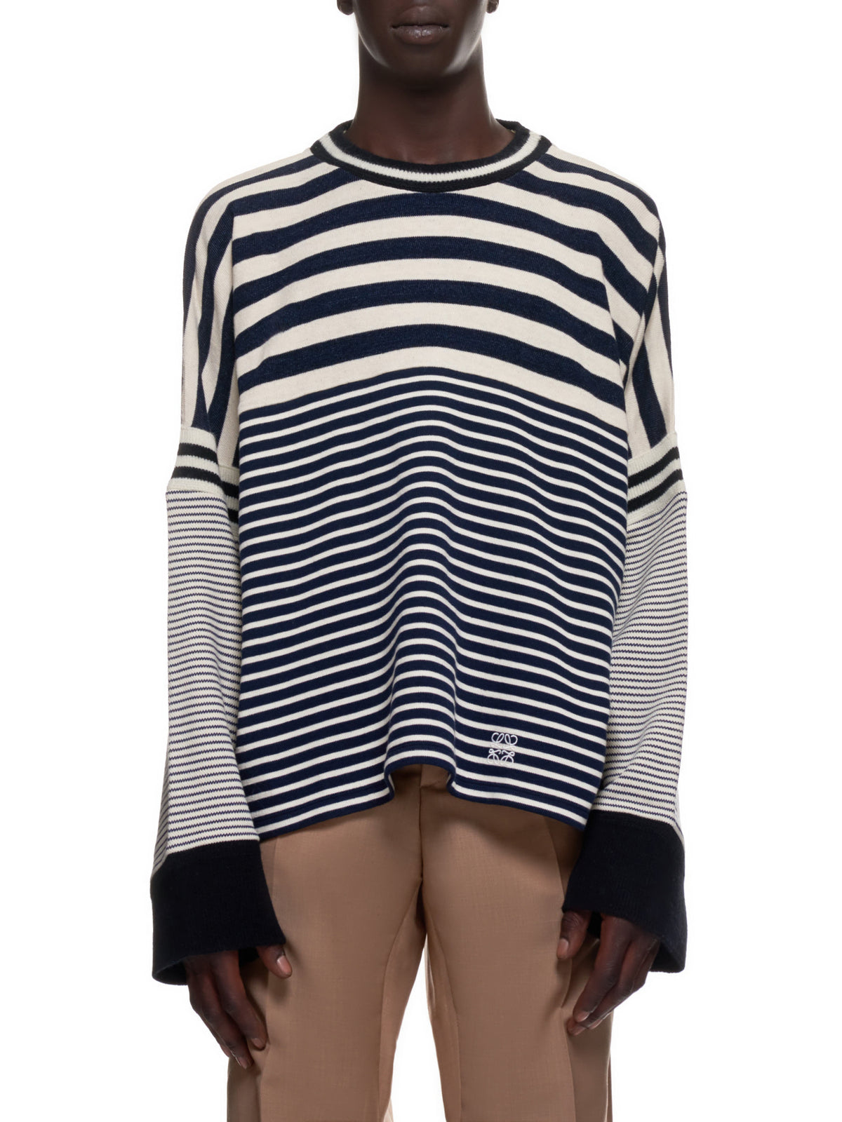 Mixed Stripes Sweater (H526341X69-ECRU-NAVY-BLUE)