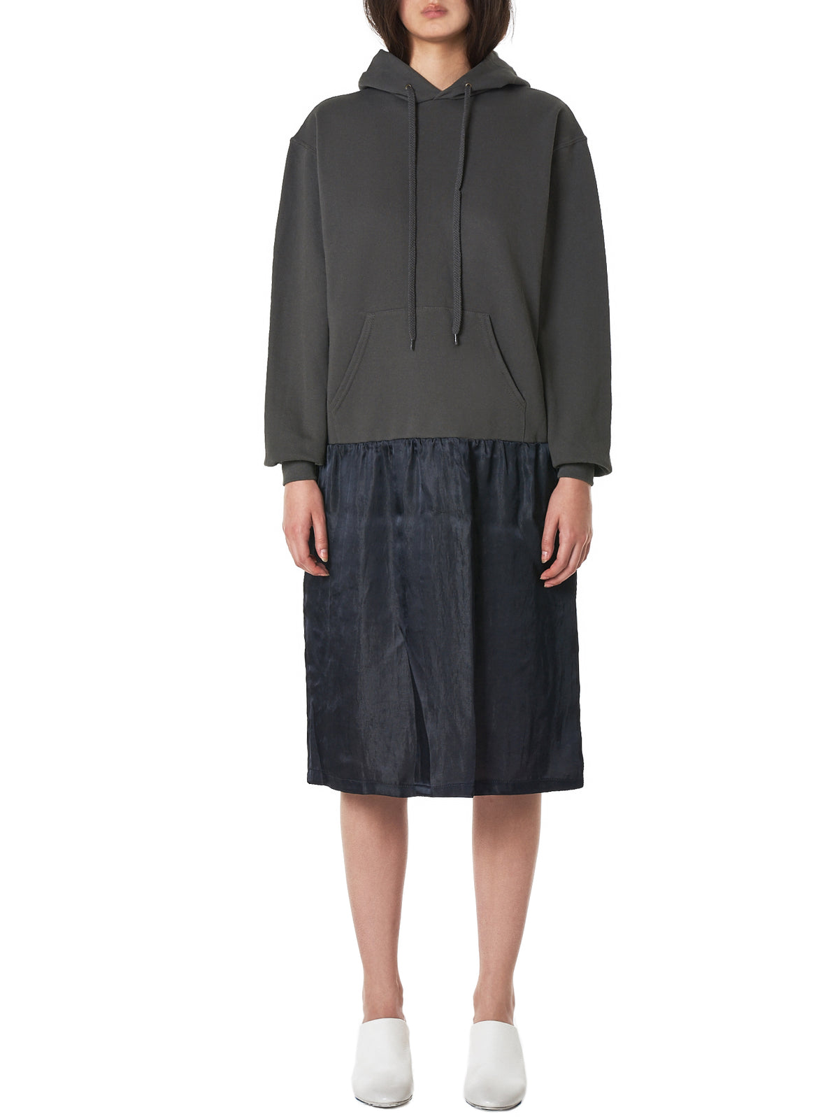 Spliced Hooded Dress (HOODIE-LU3510-DARK-GREY-BLACK)