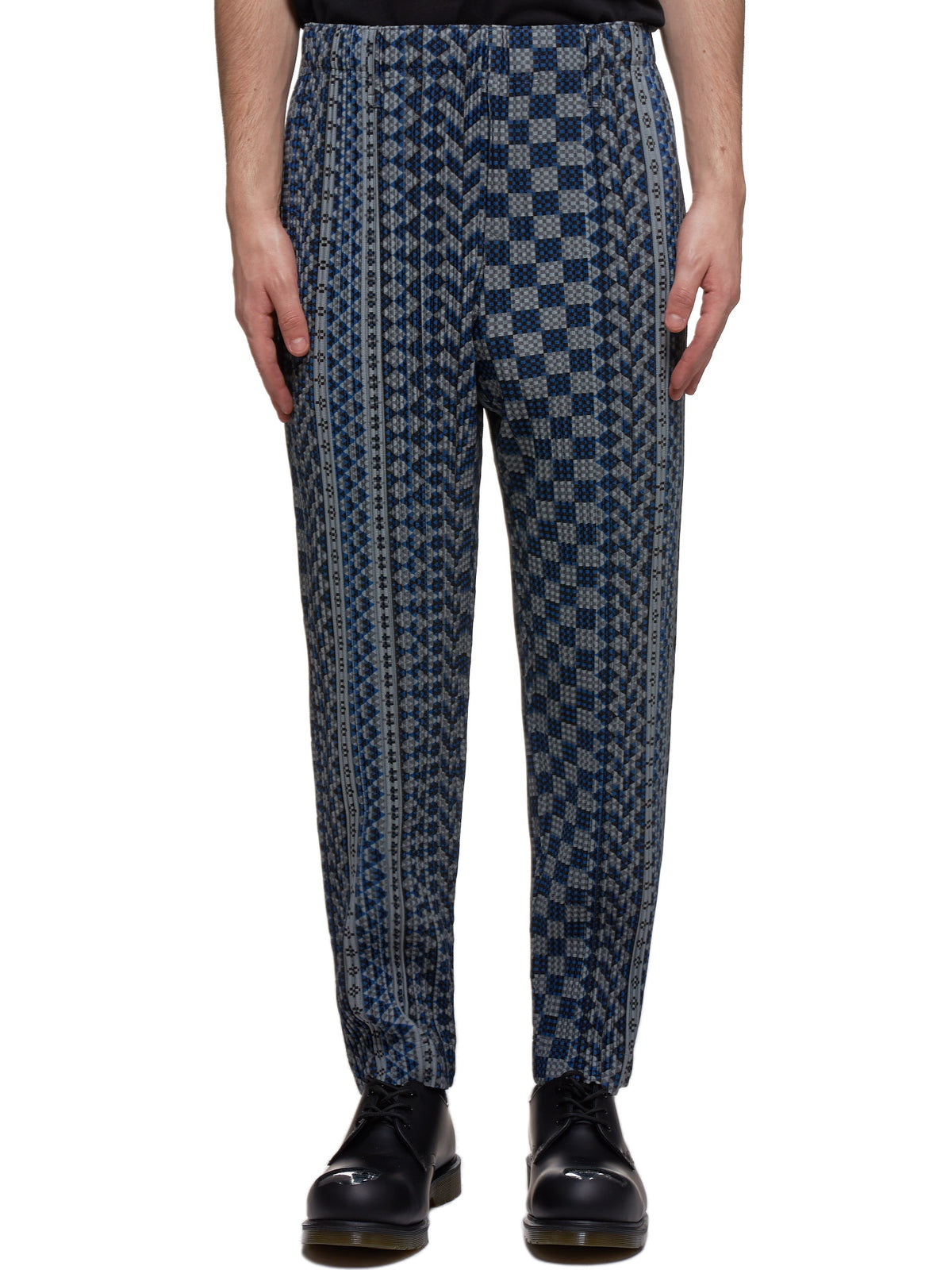 Pleated Trousers (HP06JF252-77-GRAY-BLUE)