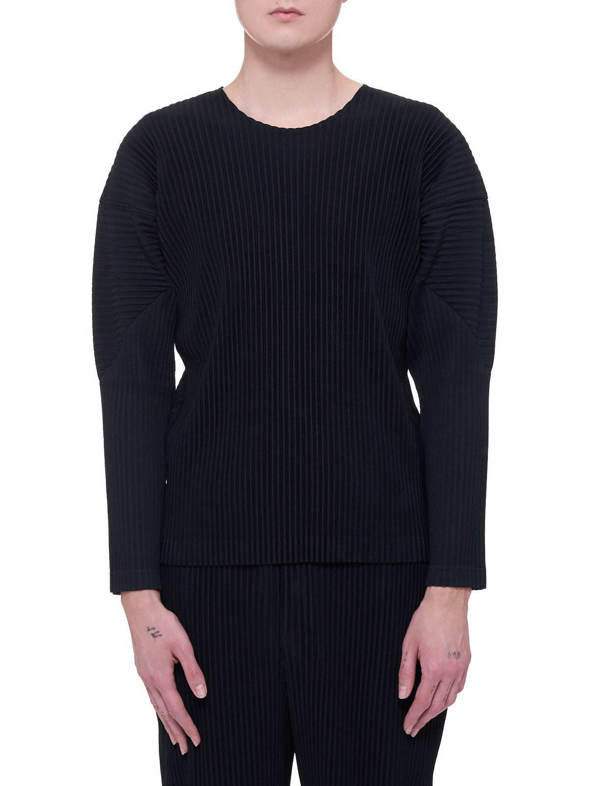 Pleated Long-Sleeve Top (HP16JK021-BLACK-BLACK-WHITE)